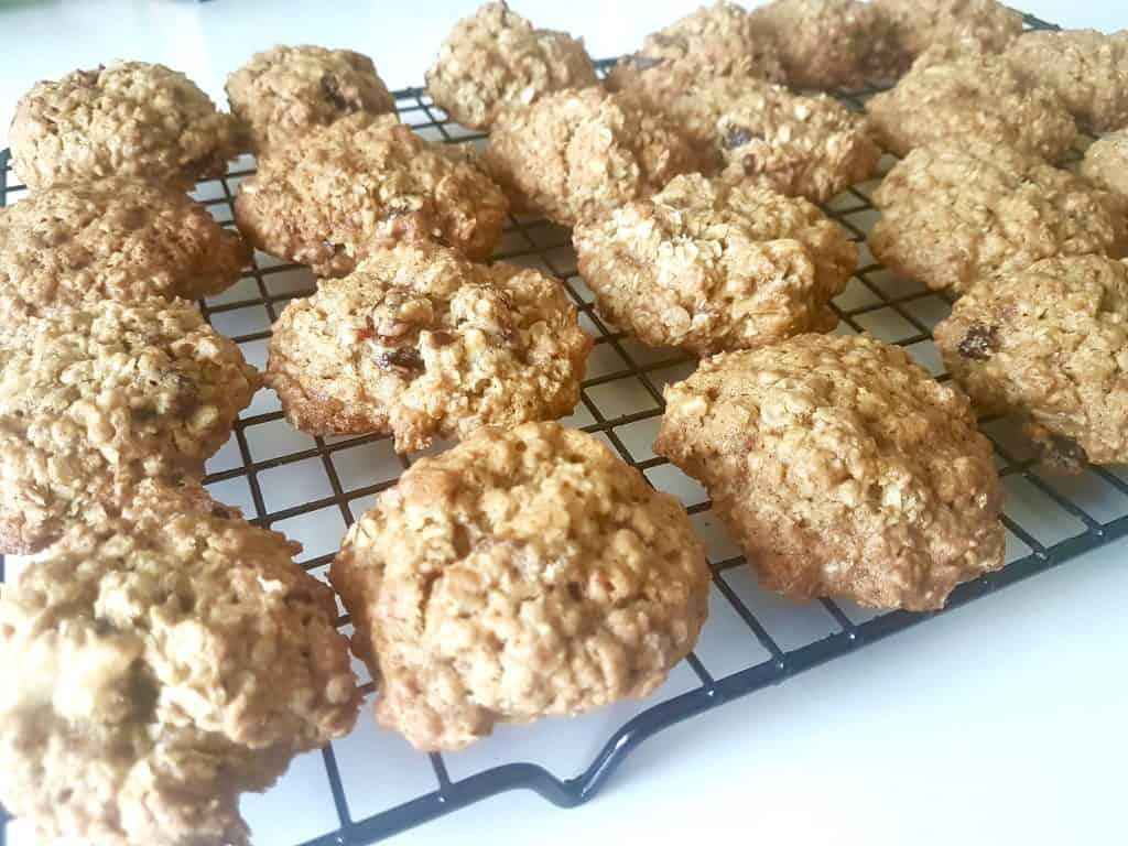 oatmeal cranberry  cookies on a wire rack