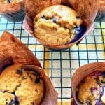 blueberry oatmeal muffins on a wire rack