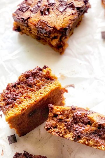 chocolate filled blondies