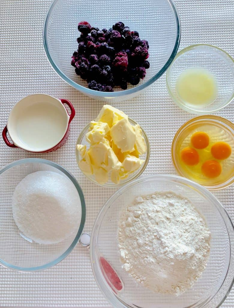 ingredients for making blueberry lemon pound cake