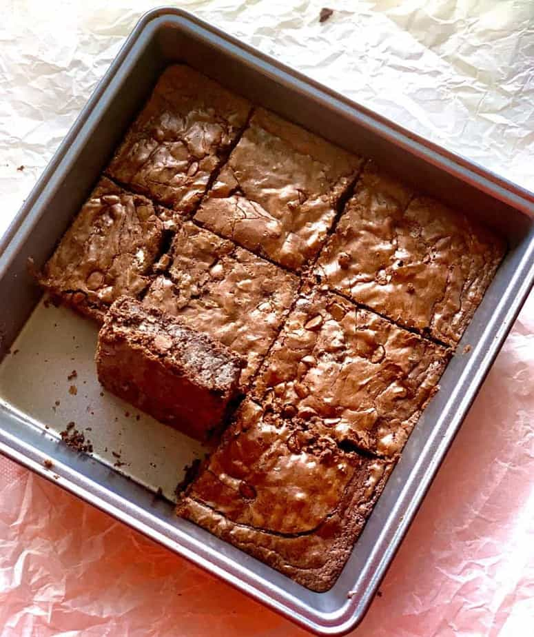 a pan of moist chewy brownie