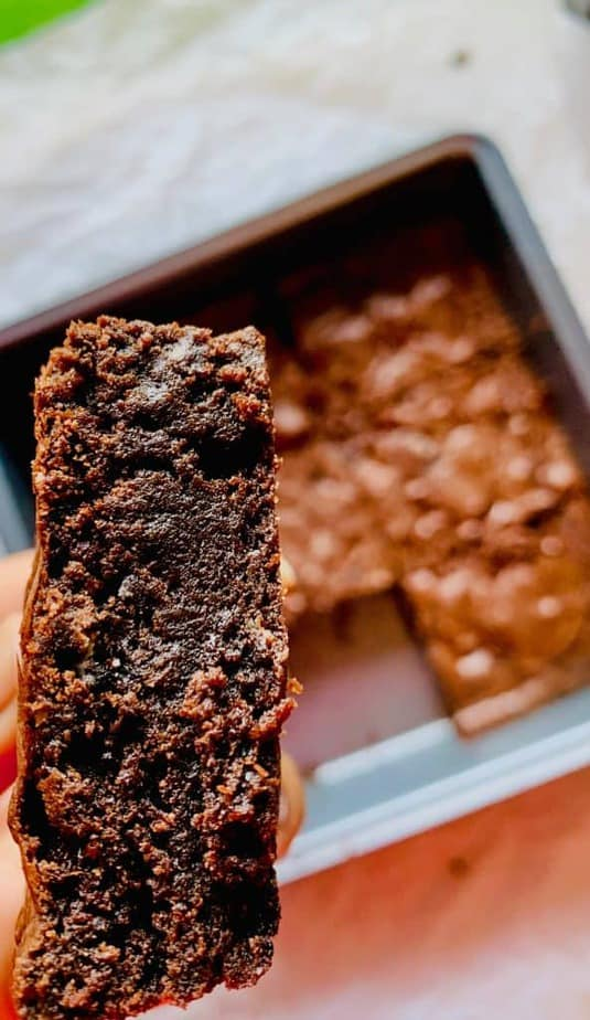 A slice of moist chewy brownie