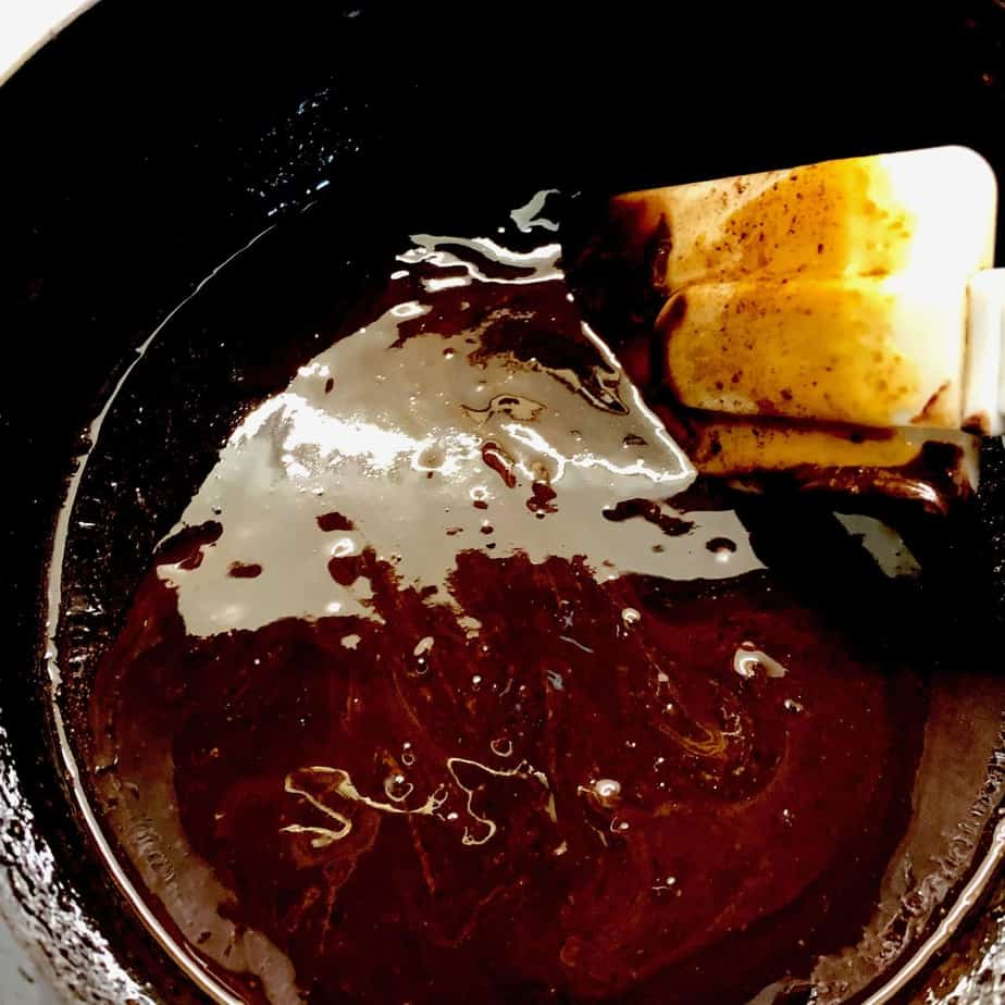 melted chocolate and butter in a saucepan